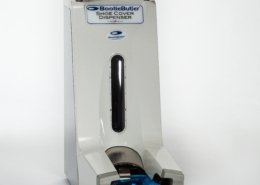 BootieButler dispensers and removers for healthcare organizations allow for hands-free dispensing and removing of shoe covers.